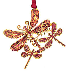 Rustic Dragonfly Collage Ornament