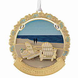 Adirondack Chairs on Beach Ornament