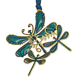 Breezy Dragonfly Collage Ornament (Blue)